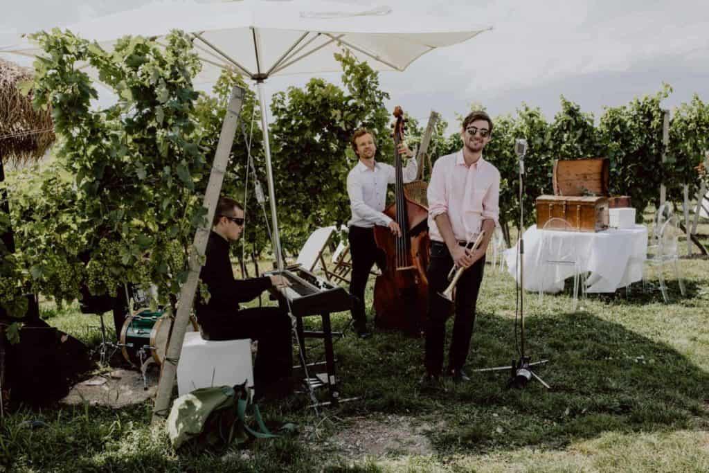 Jazz-Band auf einer Hochzeit am Weingut Holler, Steiermark